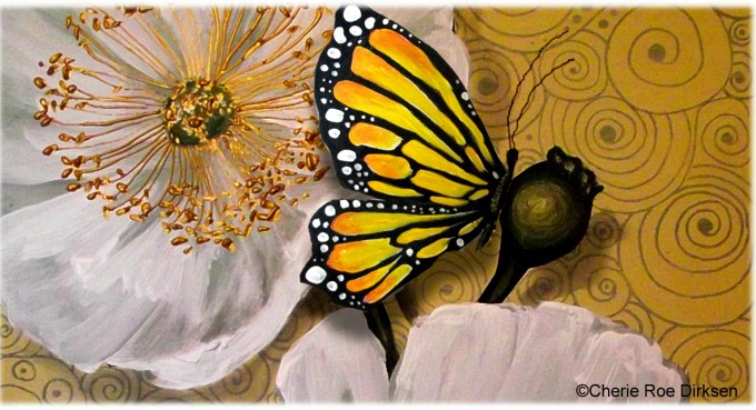 White Poppy with Butterfly by Cherie Roe Dirksen