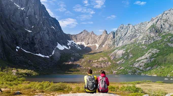 Couple at Lake Kallevatnet, Norway