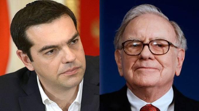 Greek Prime Minister Alexis Tsipras and Warren Buffett