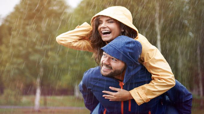 Joyous couple in the rain-compressed