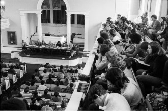 Open meeting on South African divestment, February 1978