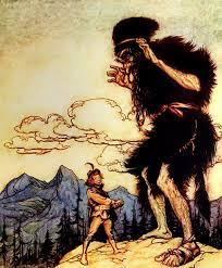 illustration d'un ogre (Google pour cet article) qui menace un homme (le gentil rédacteur).