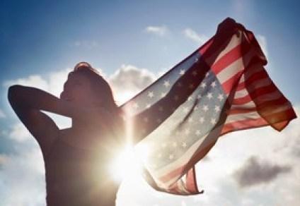 woman w flag