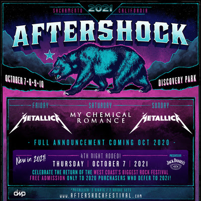 Aftershock 2021 1 Aftershock Festival 2021: Metallica and My Chemical Romance to Headline