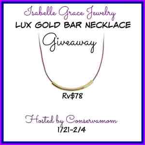 Isabelle Grace Lux Gold Bar Necklace Giveaway ends 2/4