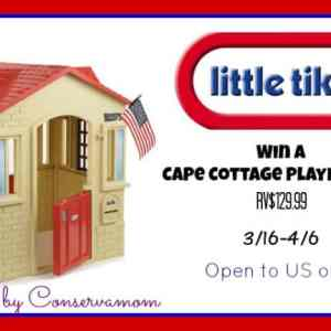 Little Tikes Cape Cottage Playhouse giveaway ends 4/6
