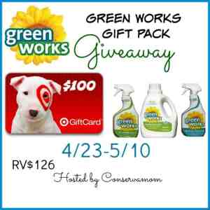 $100 Target Gift Card Green Works Gift Pack Giveaway ends 5/10