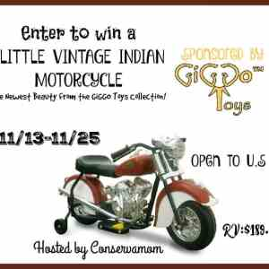 Little Vintage Indian Motorcycle Ride On Toy Giveaway ends 11/25