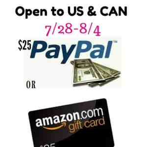 Pick Your Prize (Choice of $25 Paypal or $25 Amazon Gift Card) Giveaway ends 8/4