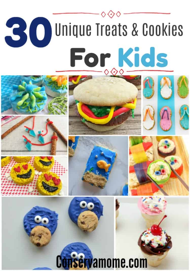 A fun round up of 30 Unique Treats & Cookies for Kids that will be perfect for a themed gathering, event or just because.