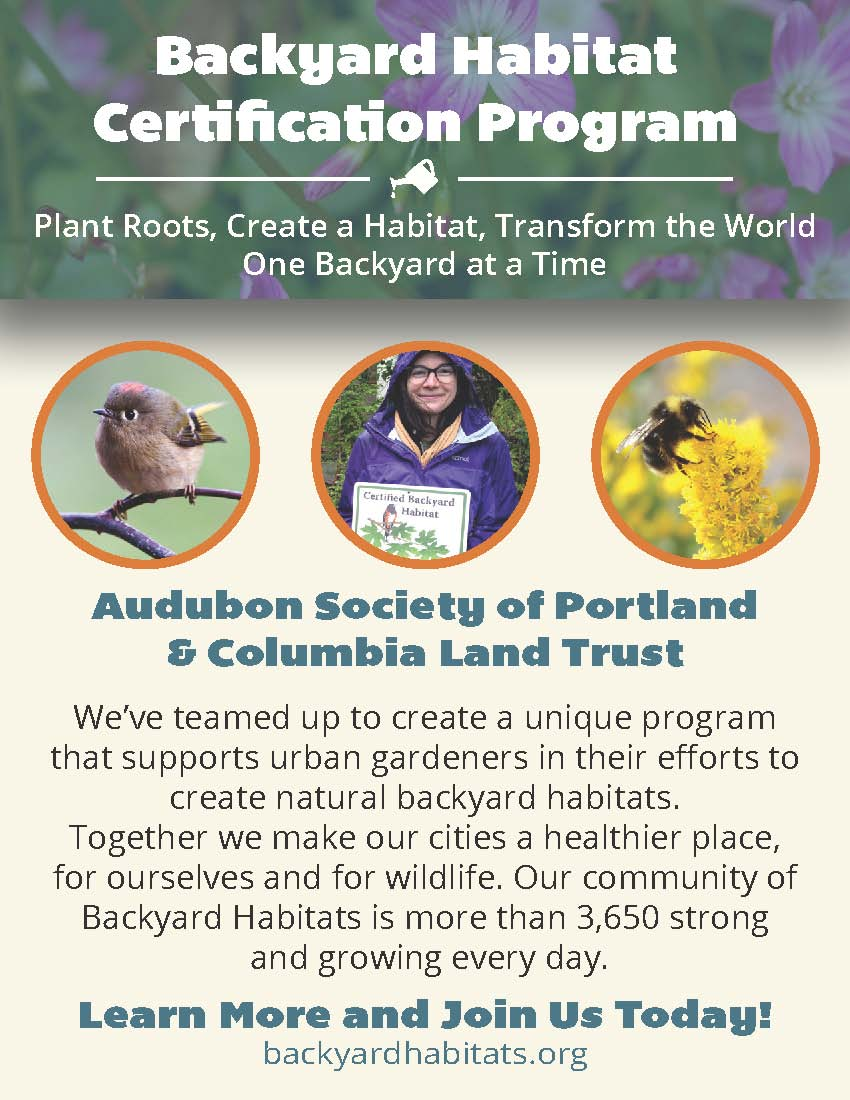 The Backyard Habitat Certification Program Is A Joint Project Of The  Audubon Society Of Portland And Columbia Land Trust. The Program Provides  Assistance ...