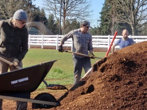 66 cubic yards of mulch was distributed over the berms!