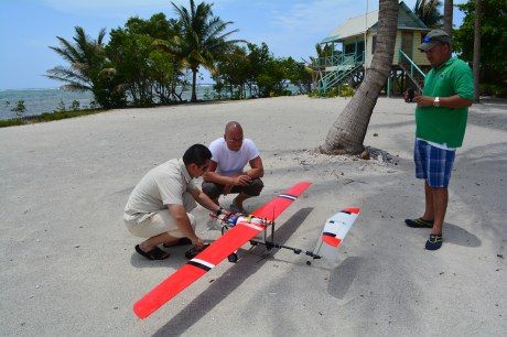 Trialing the use of UAVs in open ocean in Belize