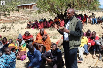 Mr. Tony Tuyah, Chairman Leshuta WRUA, rallying the Maasai community to embrace conservation of the environment.
