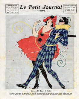 Carnival celebrations, Couple dressed as Harlequin and Columbine, with confetti and streamers, Frontpage of French newspaper Le Petit Journal Illustre, March 5, 1922, Private Collection, (Photo by Leemage/UIG via Getty Images)