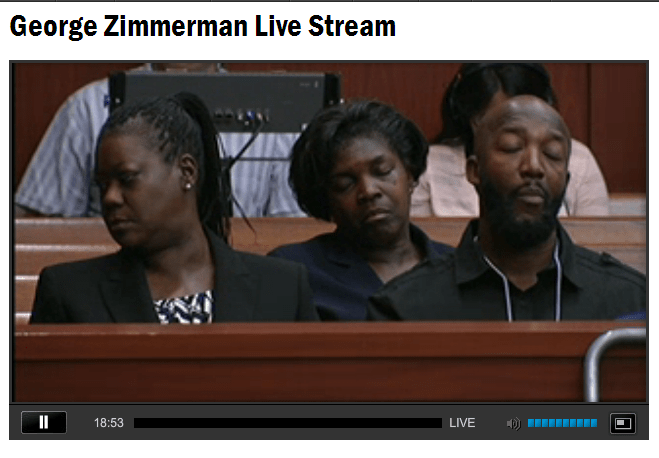 Family members of Trayvon Martin during jury selection.