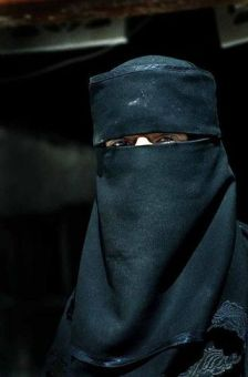 Muslim niqab. A burka only has tiny holes over the eyes.