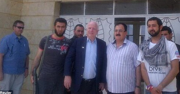 John McCain with Sunni Jihadist leaders in Syria. ISIS now brags that some of the people who have been photographed with McCain are fighting for ISIS now.