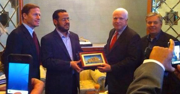 John McCain and Lindsey Graham with the leader of the Libyan branch of ISIS.
