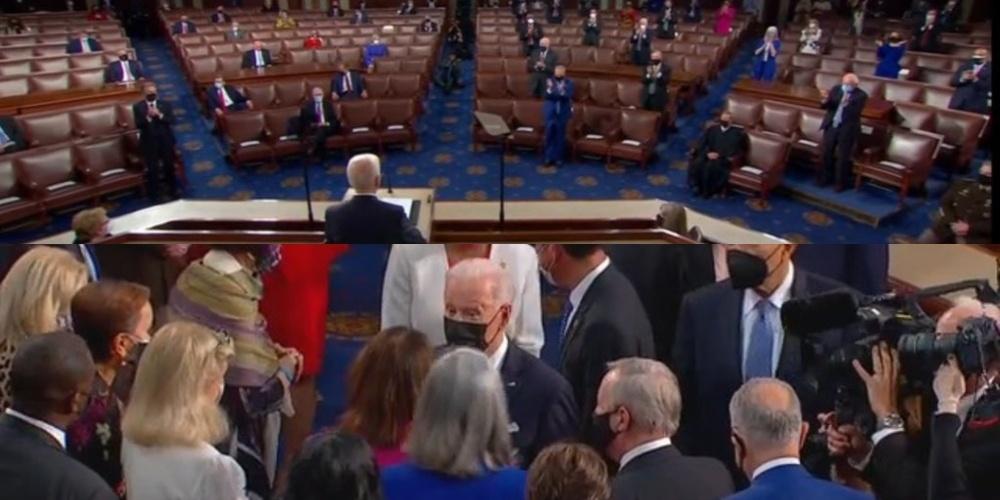 At Biden address, Democrats engage in social distancing symbolism before swarming Joe for a superspreader finale