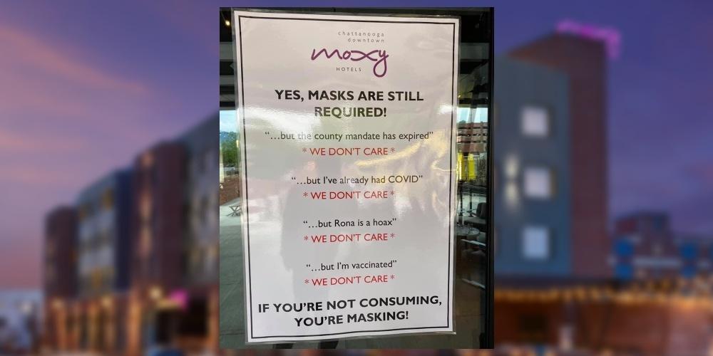 Boycott_ Hotel mocks anti-maskers with sign proclaiming 'WE DON'T CARE'