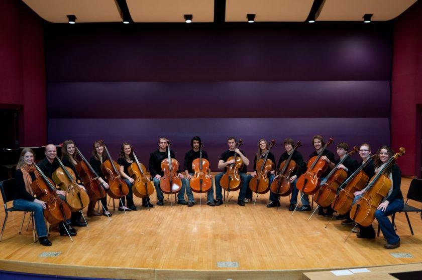 Conjunto de violonchelos de La Universidad Estatal de Montana.