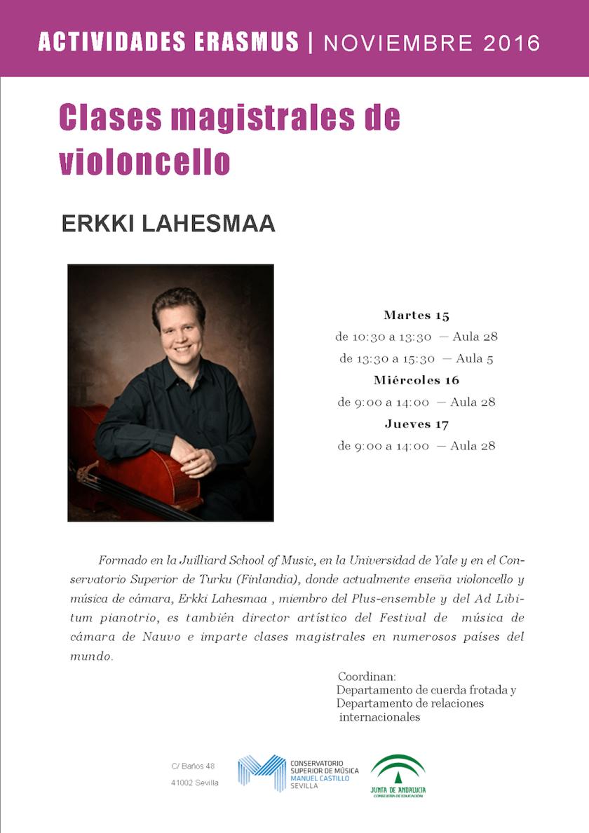 Clases magistrales de violoncello – Erkki Lahesmaa