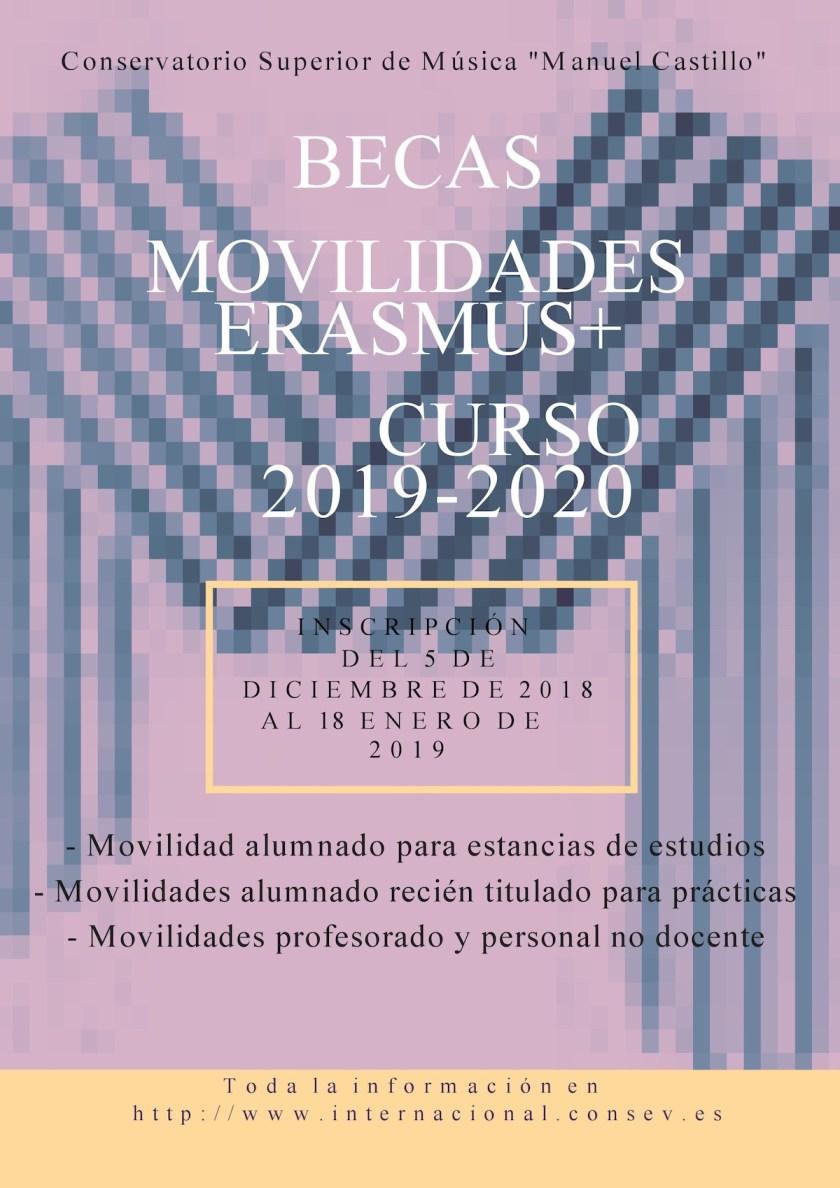 Convocatoria de becas de movilidad erasmus 2019-2020