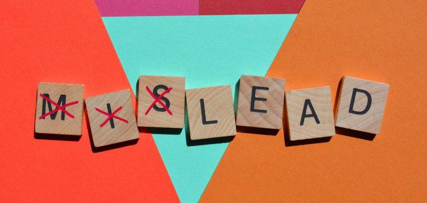 mislead word in 3d wooden alphabet letters
