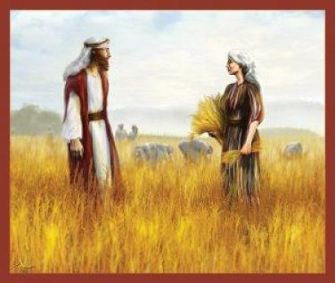 Ruth & Boaz meet. Much art has been done depicting their meeting