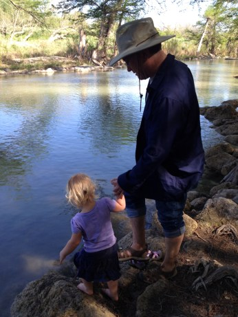Checking out the Guadalupe with Daddy.