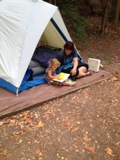Sigh. My heart is soooo happy to be camping AND reading books with my girl.