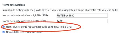 Separare Band Wifi 2.4GHz da 5GHz