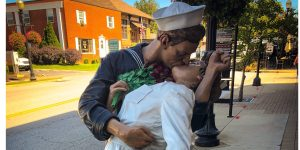 The Kissing Statue in Carmel Indiana Art and Design District