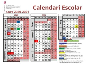 Calendari escolar 2020-21