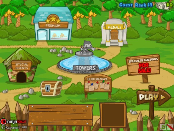 Bloons Tower Defense 5 menu