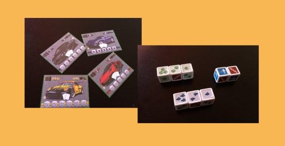 Prototipo de las tarjetas de vehículo y dados.