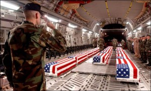 Coffins of dead U.S. soldiers arriving at Dover Air Force Base in Delaware in 2006. (U.S. government photo)