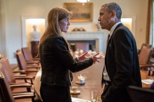 President Barack Obama talks with Ambassador Samantha Power, U.S. Permanent Representative to the United Nations, following a Cabinet meeting in the Cabinet Room of the White House, Sept. 12, 2013. (Official White House Photo by Pete Souza)