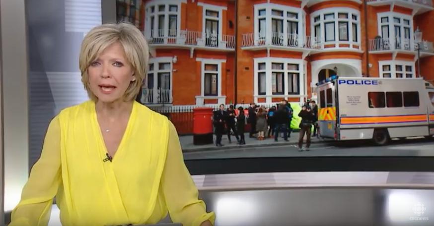 CBC TV covering Assange expulsion. (YouTube)