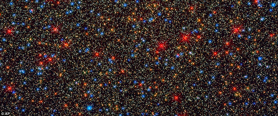 Omega Centauri: NASA's Hubble Space Telescope snapped this view of a colourful assortment of 100,000 stars residing in the crowded core of a giant star cluster. The image reveals a small region inside the globular cluster Omega Centauri, which boasts nearly 10 million stars