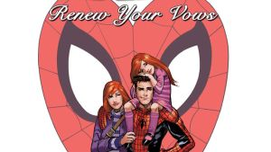 "Peter and Mary Jane Parker with their daughter on the cover of ""Renew Your Vows"""
