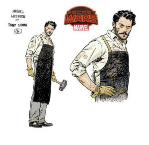 """Tony Stark in Marvel's 1872. Marvel's secret wars is giving way to a lot of really creative worlds n """"Battleworld"""" including 1872, an old west version of the Marvel Universe."""
