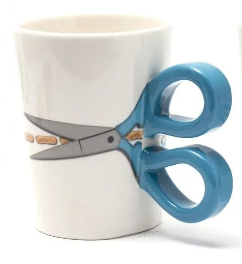 Blue scissor sewing mug