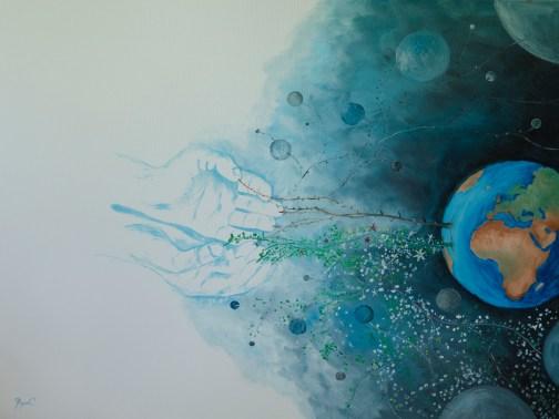 Metafizica III- Crearea Universului Material, ulei pe pânză, 72x50 cm, an: 2012