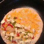 Chicken Quesadillas - Place Cheese & Chicken Filling