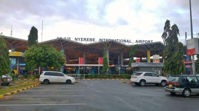 The main gate leading to the Julius Nyerere International Airport, Tanzania