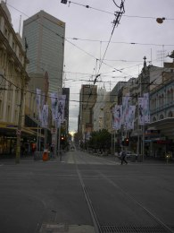 Looking down Bourke St Mall toward Elizabeth St, 9am on a Sunday morning (this is thee busiest shopping strip in Melbourne)