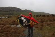 Me, the flag of Rohan, Mt Sunday (Edoras) and rain