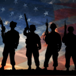 Veterans, flag background
